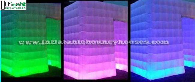 4x4m tube LED light inflatable photo booth for parties n film events
