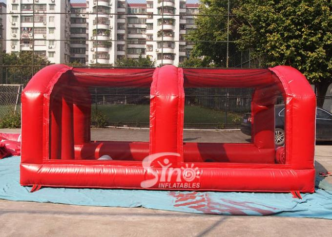 Outdoor Giant Inflatable Football Obstacle Course With Tent For Playing Games