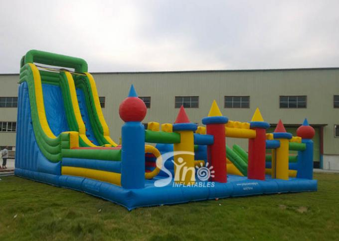 Custom Made Outdoor Toddler N Kids Inflatable Playground With Big Slide Made Of 0.55mm Pvc Tarpaulin