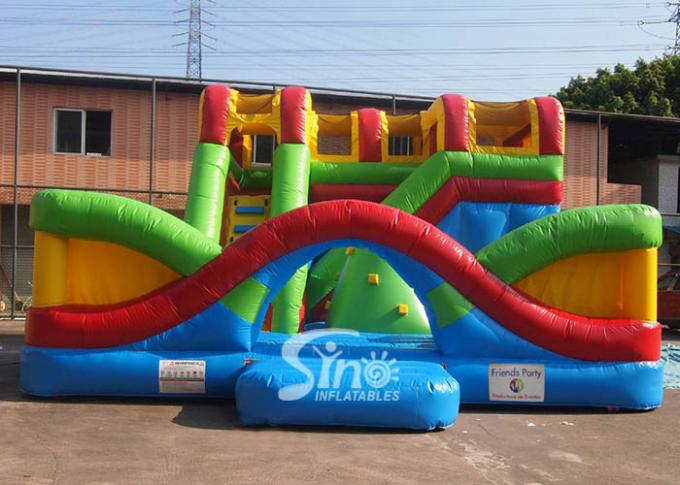 Commercial Use Outdoor Cross Rainbow Inflatable Fun City For Sale Made Of Top Quality Pvc Tarpaulin