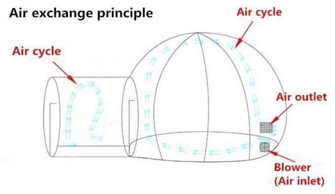 Outdoor 5m Clear Top Resort Inflatable Bubble Camping Tent With Steel Frame Capsule Tunnel For Glamping 0