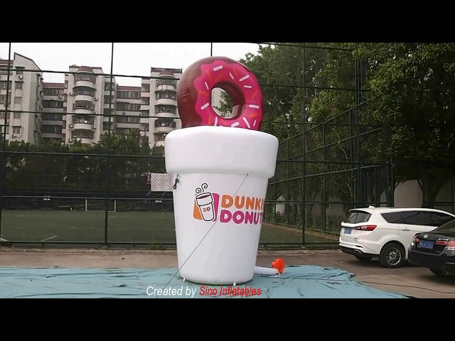 5m High Custom Shape Dunkin Donuts Advertising Inflatable Coffee Cup For Dessert Shop Promotion
