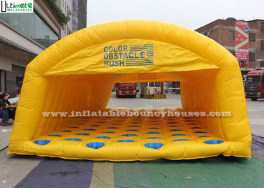 China Children Giant Yellow Obstacle Inflatable Tunnel With Comb Floor supplier