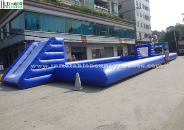 Funny Children Inflatable Games , Blue Inflatable Water Soccer Field
