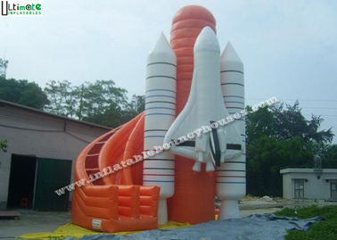 Lead Free PVC Tarpaulin Commercial Inflatable Slides , Outdoor Inflatable Rocket Slide