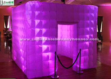 China Portable White Photo Booth Enclosure Air Inflatable Tents With Led Tube Light supplier