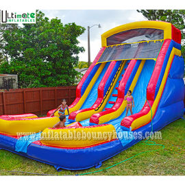 Kids Commercial Inflatable Water Slides Two Lane With Pools Lead Free PVC Tarpaulin