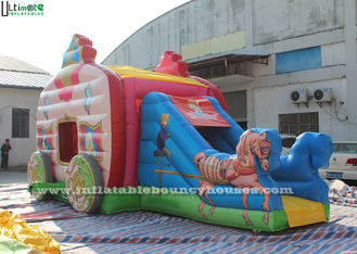 China Pink Princess Carriage Inflatable Jumping Castle Slide With Lead Free Material supplier