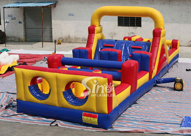 37' long outdoor commercial kids inflatable obstacle course with pillars and slides inside