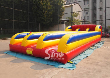 Commercial Inflatable Games 3 Lanes Bungee Run For Outdoor Interactive Sports