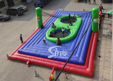 Commercial grade adults big inflatable bossaball court with center trampolines for volleyball games