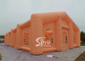 China 23x8 meters long orange inflatable rectangle tent made of best light material supplier