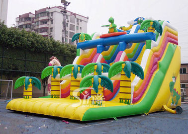 Giant double lane dragon inflatable forest slide with palm trees made of 0.55mm pvc tarpaulin
