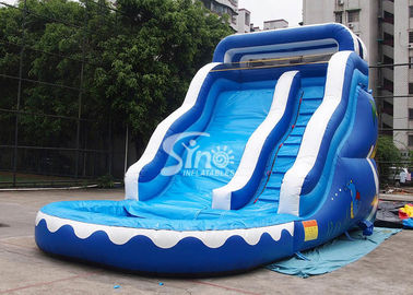 China 17' ocean wavy commercial inflatable water slide with pool made of lead free pvc tarpaulin supplier