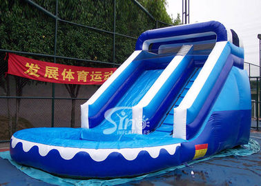 Front load ocean blue inflatable wet slide with pool for kids outdoor parties