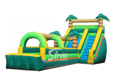 Tropical Palm Tree Inflatable Water Slide With Long Slip n Slide For Beach Parties