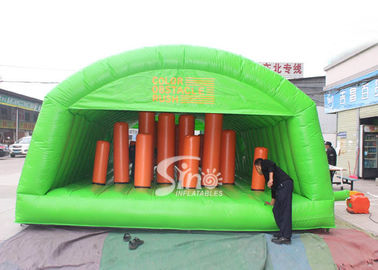 Outdoor big adults inflatable obstacle tunnel tent with for inflatable hit n run adventure