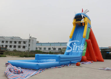 China extreme giant adults hippo inflatable slide with pool ended for sea shore water park