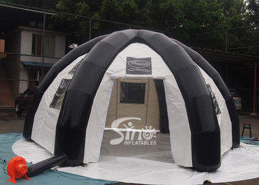 China 6 mts outdoor enclosed travel inflatable tent with movable velcro doors N clear windows supplier
