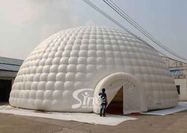 China 18m white giant inflatable igloo dome tent with 3 tunnel entrances for parties supplier