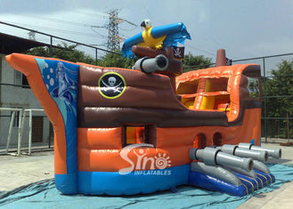 Outdoor commercial kids party inflatable pirate ship with slide N basketball hoop inside made of best material