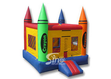 China 13x13 rainbow kids crayon small bounce house with removable cover made of lead free material supplier