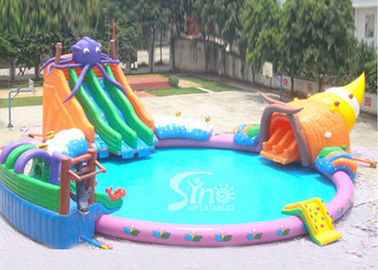 China Seaworld giant octopus kids N adults inflatable water park on land for summer water world rental business supplier