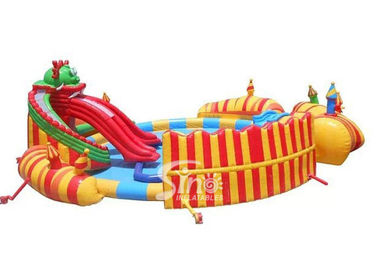 China China dragon slide kids N adults giant inflatable water park with big castle for sale supplier