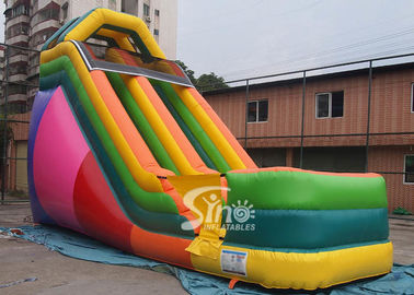 China 19' custom made colorful inflatable dry slide with lead free material supplier