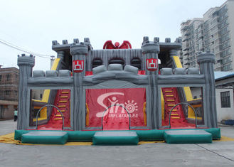 China 12x10m children giant medieval haunt house inflatable castle slide with tunnel N obstacle course supplier