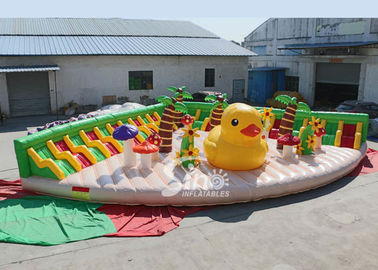 China 10x10m Big yellow duck inflatable theme park with sun beach sofa for entertainment supplier