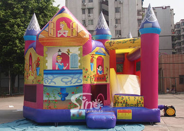 China Commerical grade kids inflatable princess combo castle with slide N basketball inside made of lead free material supplier