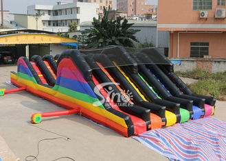 China 6 Lane Color Run Adults Inflatable Obstacle Course With 2 Hill Slides For Outdoor 5K Sports Activities supplier