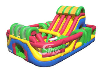 Outdoor Commercial Giant Adrenaline Zone Inflatable Slide With Obstacles Inside For Kids N Children