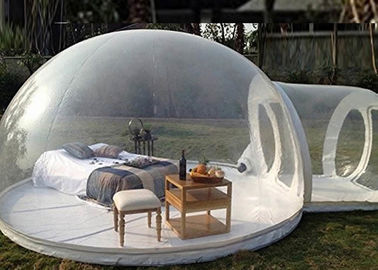 4m dome clear inflatable camping bubble tent with capsule tunnel