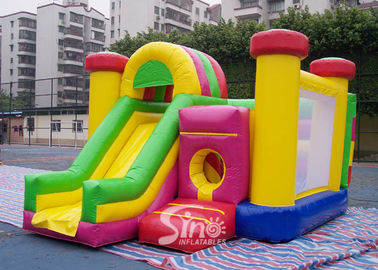 China Outdoor Kids Inflatable Bouncy Castle With Slide And Pillars Inside Made Of Best Pvc Tarpaulin supplier