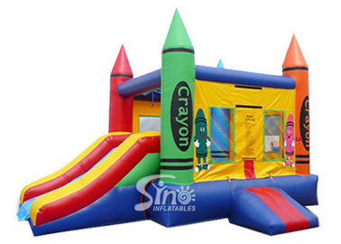 Best seller colorful crayon house kids inflatable combo game made of 18 OZ. pvc tarpaulin for outdoor use