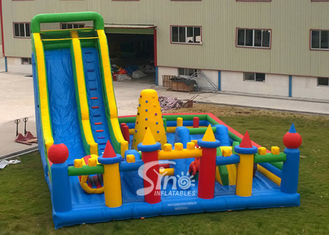 China Custom Made Outdoor Toddler N Kids Inflatable Playground With Big Slide Made Of 0.55mm Pvc Tarpaulin supplier