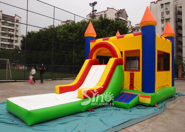China Water Bouncy Castle With Slide And Pool / Basketball Hoop for Backyard supplier