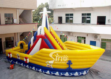 6 Mts High Victory Ship Shape Inflatable Slide Playground With Colorful Flags