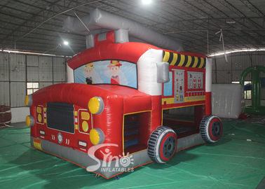 China The Blow Up Fire Truck Inflatable Bouncy Castle For Kids And Adults Party Time supplier