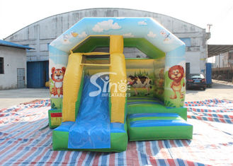 China Inflatable Cartoon Bounce House Jumping Castle With Slide For Inflatable Games supplier