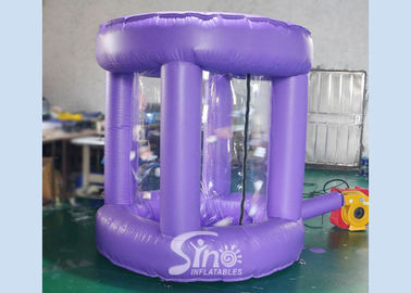 Inflatable Money Blowing Machine , PVC Tarpaulin Purple Cash Grab Booth