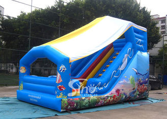 China Outdoor Kids Sea World Small Inflatable Slide With Cover On Top For Parties supplier