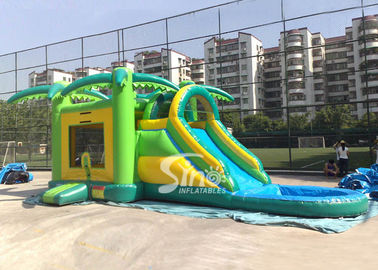 China Big Outdoor Jungle Inflatable Boune Slide Combo with Water Pool and Palm Tree supplier