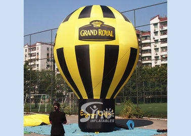 5 meters high black N yellow Grand Royal advertising inflatable roof top balloon with strong ropes