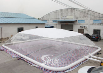 China Custom Size Inflatable Swimming Pool Cover Dome Tent With Water Tube For Swimming Pool Use supplier