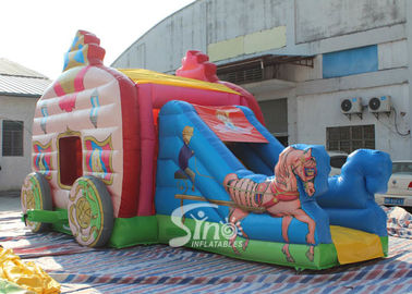 China Kids Pink Princess Carriage Inflatable Bouncy Castle Slide With Lead Free Material supplier