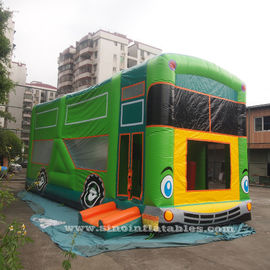 Commercial grade giant bus inflatable bouncer with slide N pillars inside for kids fun entertainments