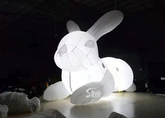 5m Long Giant Blow Up Illuminated Inflatable White Rabbit With LED Light For Outdoor Promotion